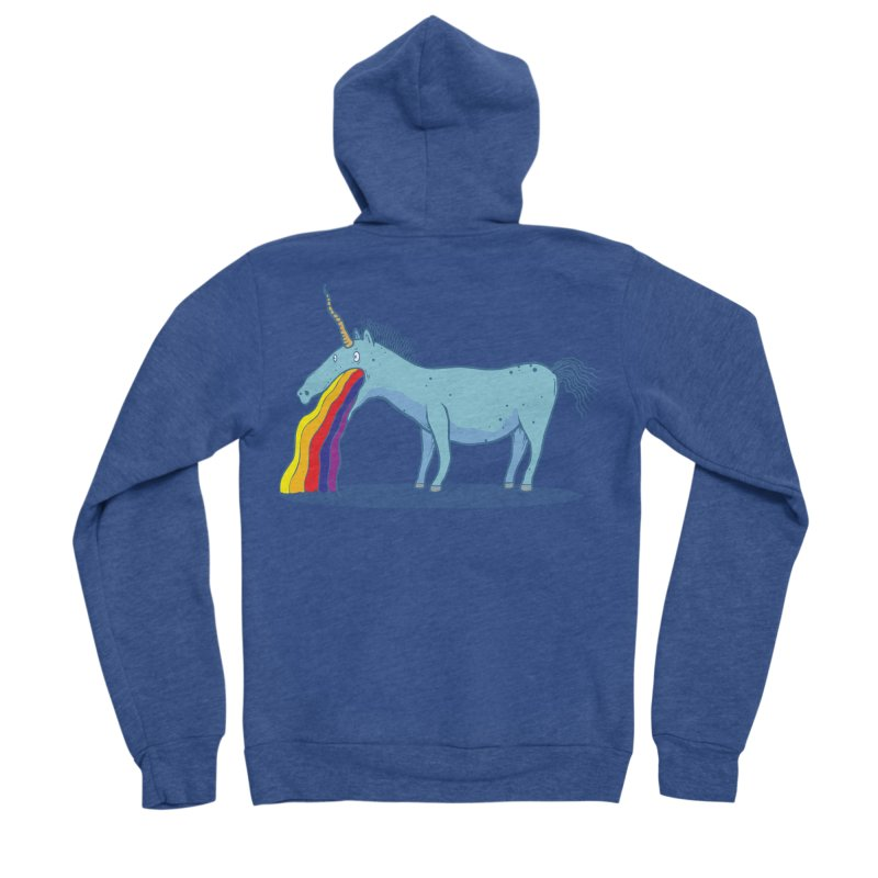 Puke-icorn Women's Sponge Fleece Zip-Up Hoody by Magnus Blomster