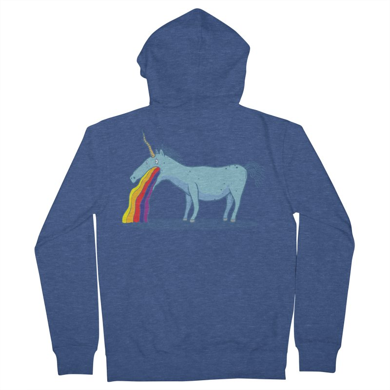 Puke-icorn Men's French Terry Zip-Up Hoody by Magnus Blomster