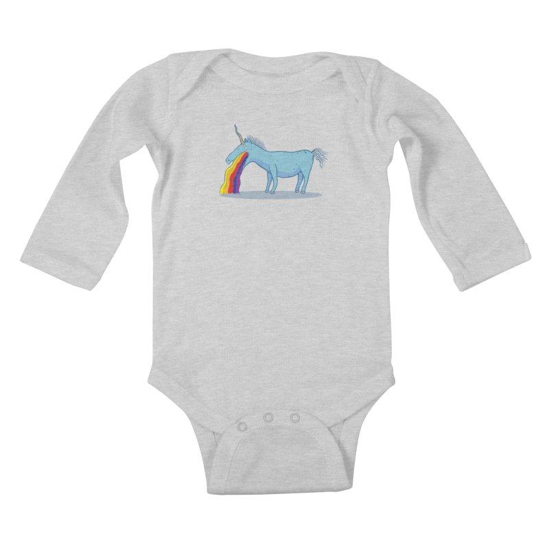 Puke-icorn Kids Baby Longsleeve Bodysuit by Magnus Blomster