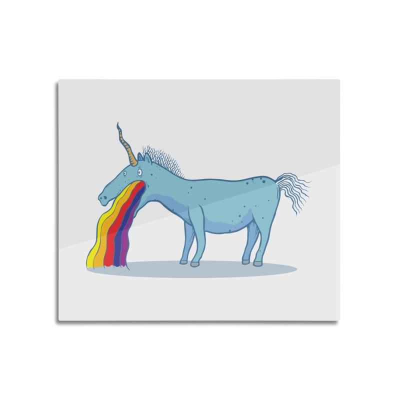 Puke-icorn Home Mounted Aluminum Print by Magnus Blomster