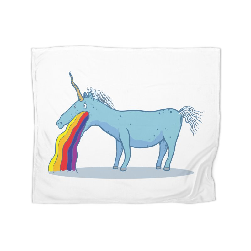 Puke-icorn Home Fleece Blanket Blanket by Magnus Blomster