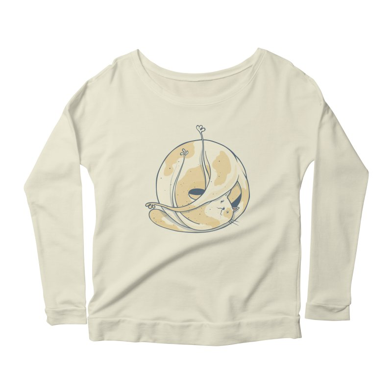 Ball of cat Women's Scoop Neck Longsleeve T-Shirt by Magnus Blomster