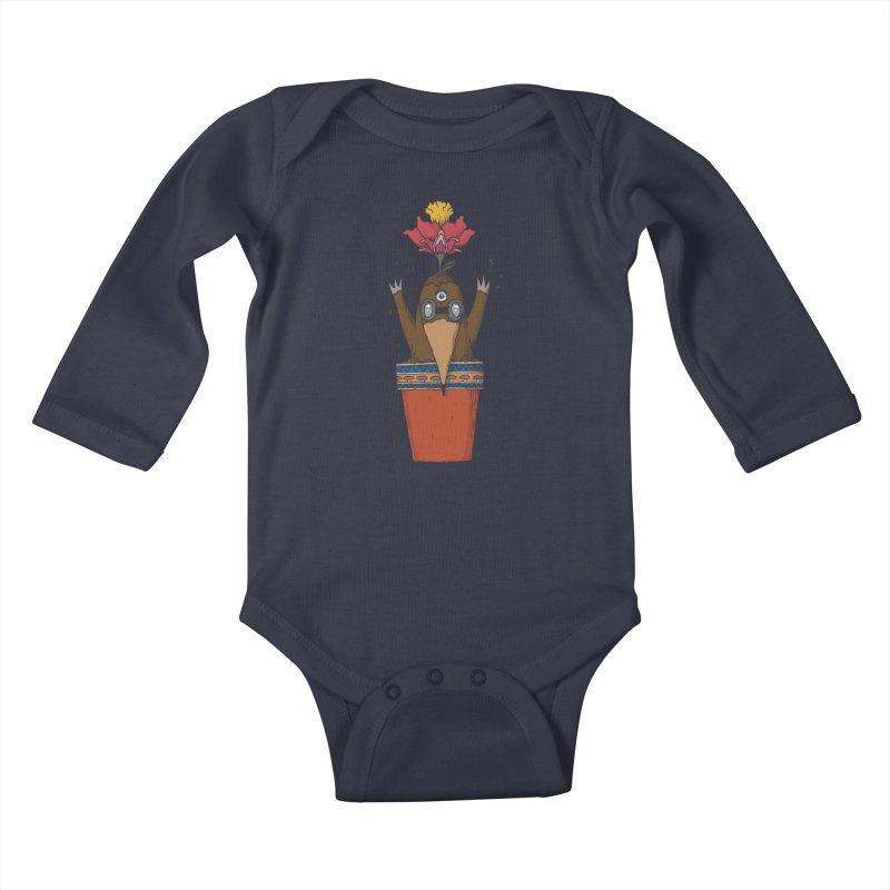 Flowepot mole Kids Baby Longsleeve Bodysuit by Magnus Blomster