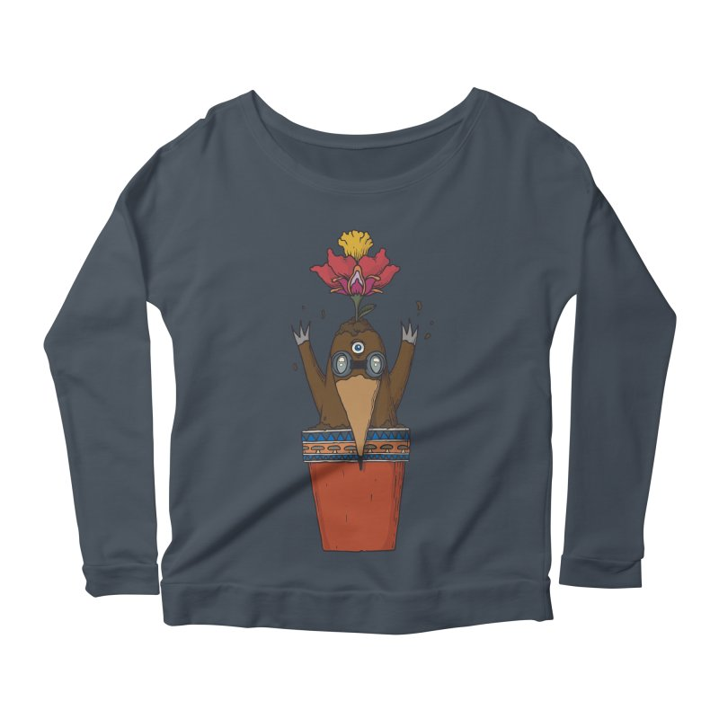 Flowepot mole Women's Scoop Neck Longsleeve T-Shirt by Magnus Blomster