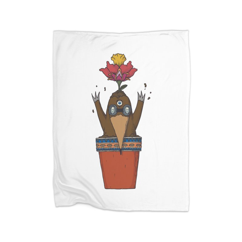 Flowepot mole Home Fleece Blanket Blanket by Magnus Blomster