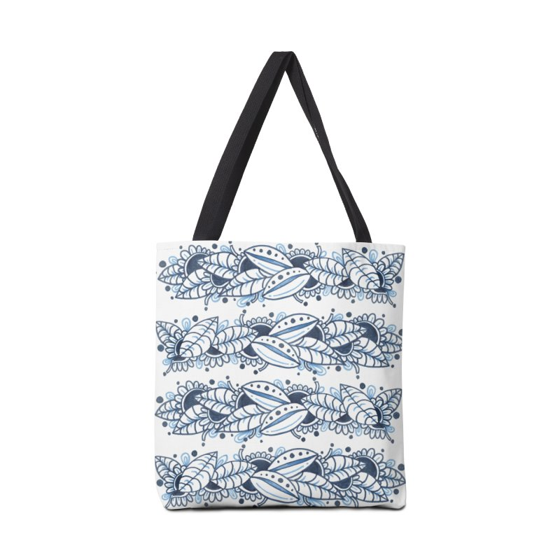 Blue leaves Doodle Accessories Bag by mahinaz's Shop