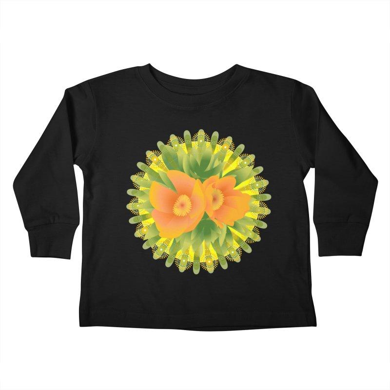 Bright Retroish Peonies Kids Toddler Longsleeve T-Shirt by Art by Maija R