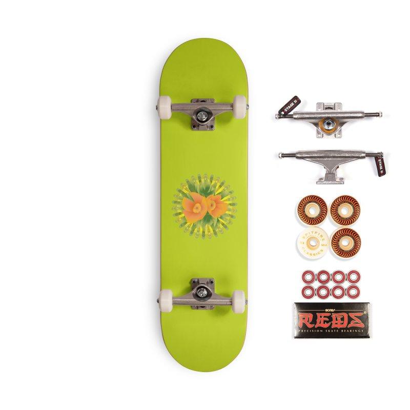 Bright Retroish Peonies Accessories Skateboard by Art by Maija R