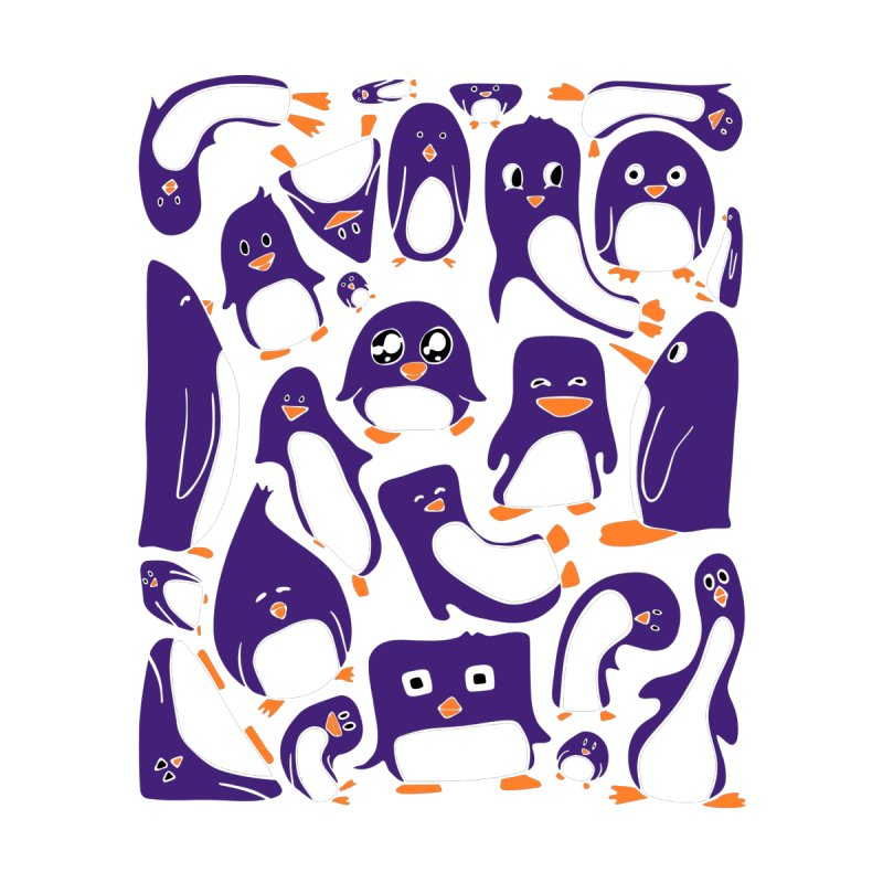 Purple Penguin Party Men's T-Shirt by Art by Maija R