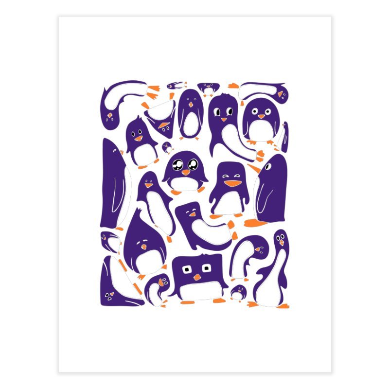 Purple Penguin Party Home decor Fine Art Print by Art by Maija R