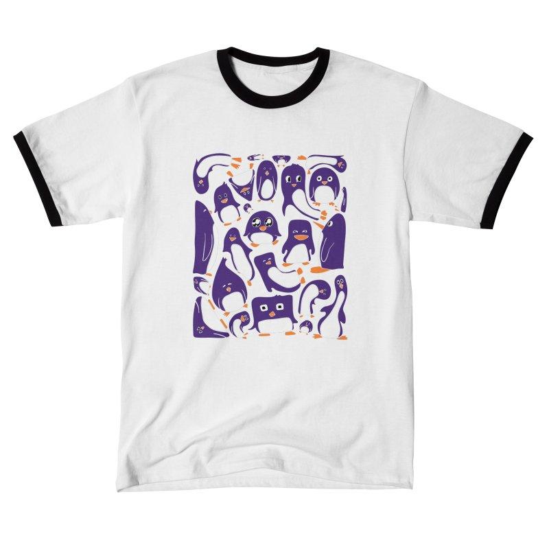 Purple Penguin Party Unisex T-Shirt by Art by Maija R