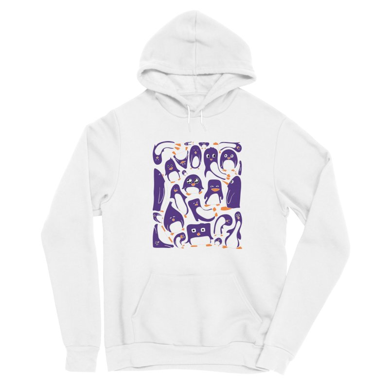 Purple Penguin Party Fitted Pullover Hoody by Art by Maija R