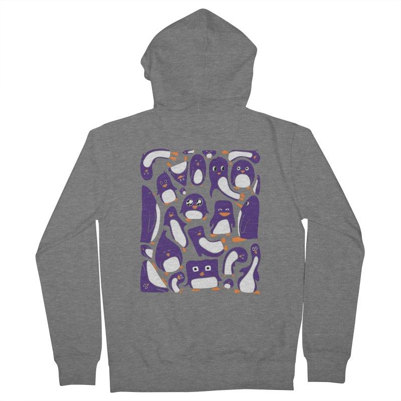 Purple Penguin Party Unisex Zip-Up Hoody by Art by Maija R