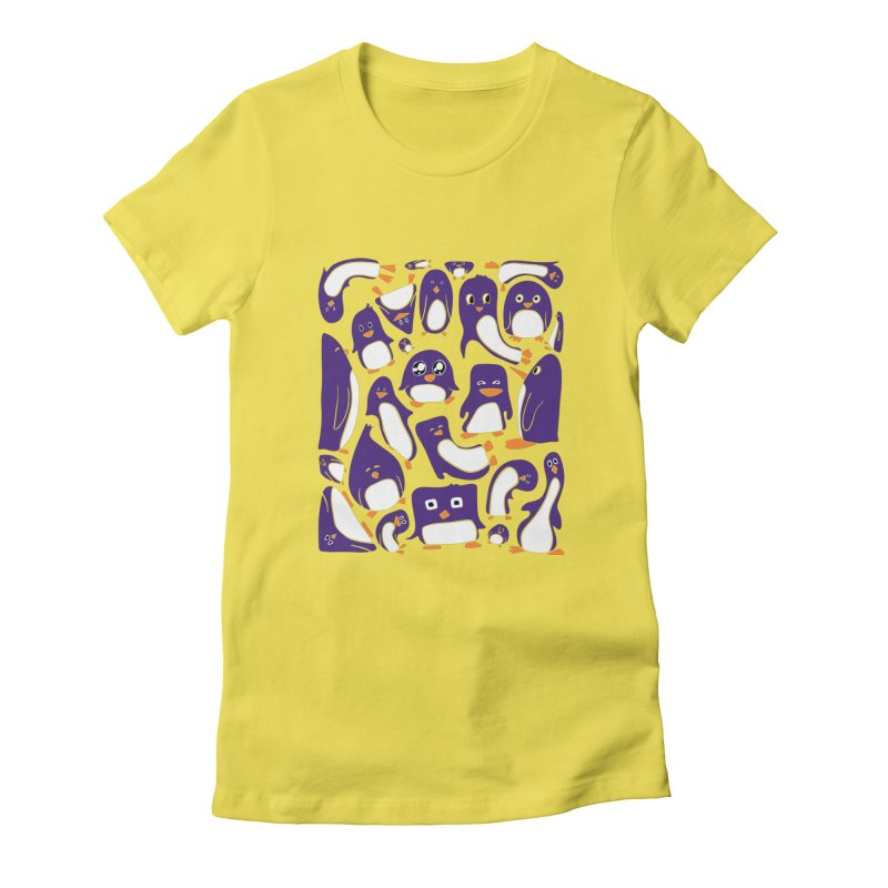 Purple Penguin Party Fitted T-Shirt by Art by Maija R