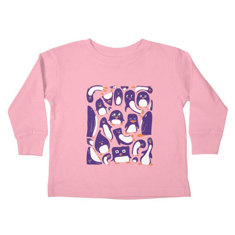 Purple Penguin Party Kids Toddler Longsleeve T-Shirt by Art by Maija R