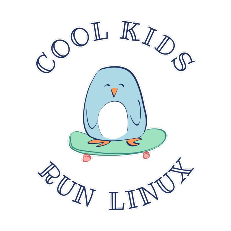 Cool Kids Run Linux (blue) Kids T-Shirt by Art by Maija R