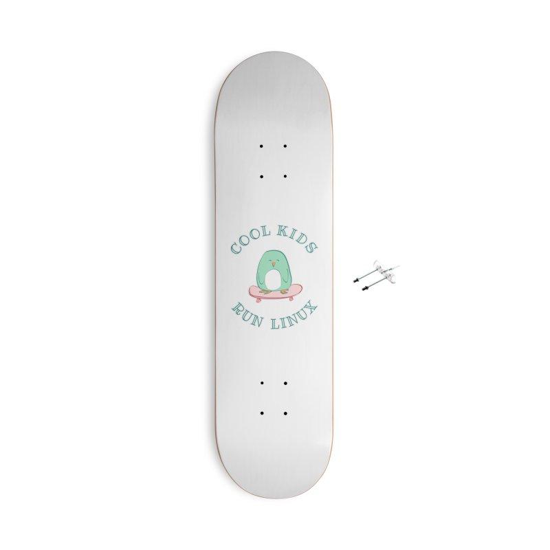 Cool Kids Run Linux (green) Accessories Skateboard by Art by Maija R