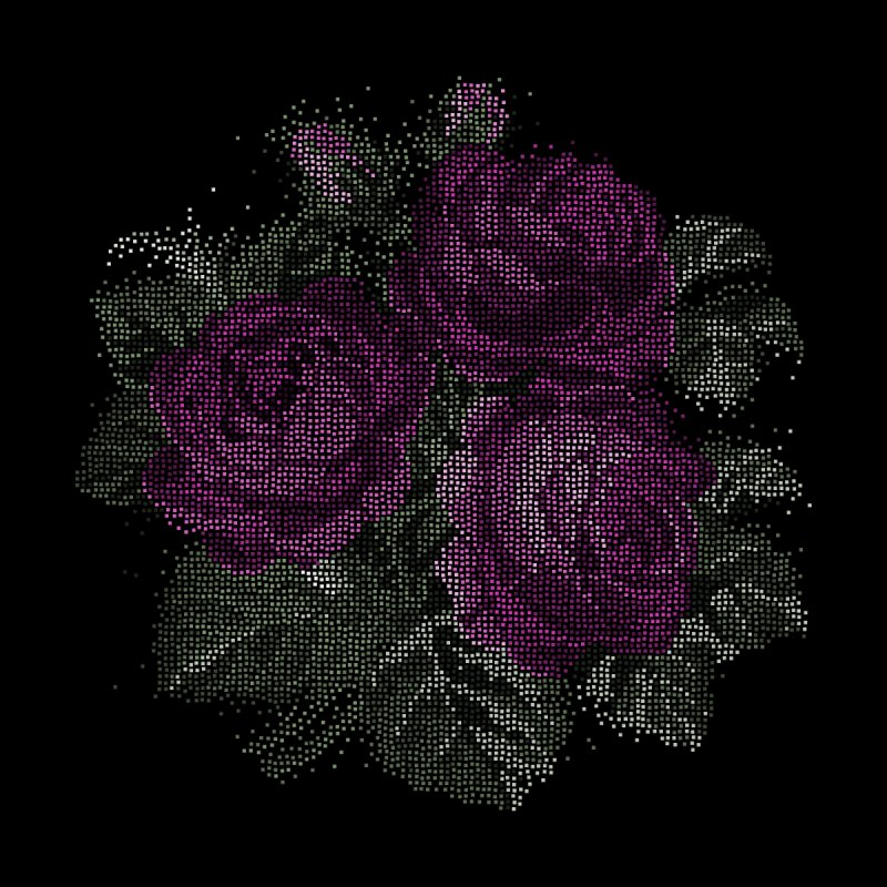 Vintage Mosaic Roses Home decor Stretched Canvas by Art by Maija R