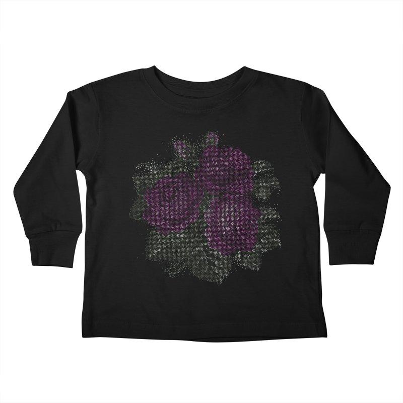 Vintage Mosaic Roses Kids Toddler Longsleeve T-Shirt by Art by Maija R