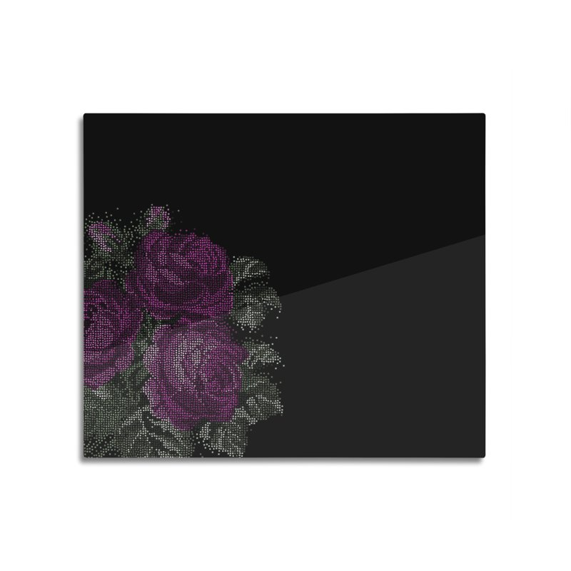 Vintage Mosaic Roses Home decor Mounted Acrylic Print by Art by Maija R