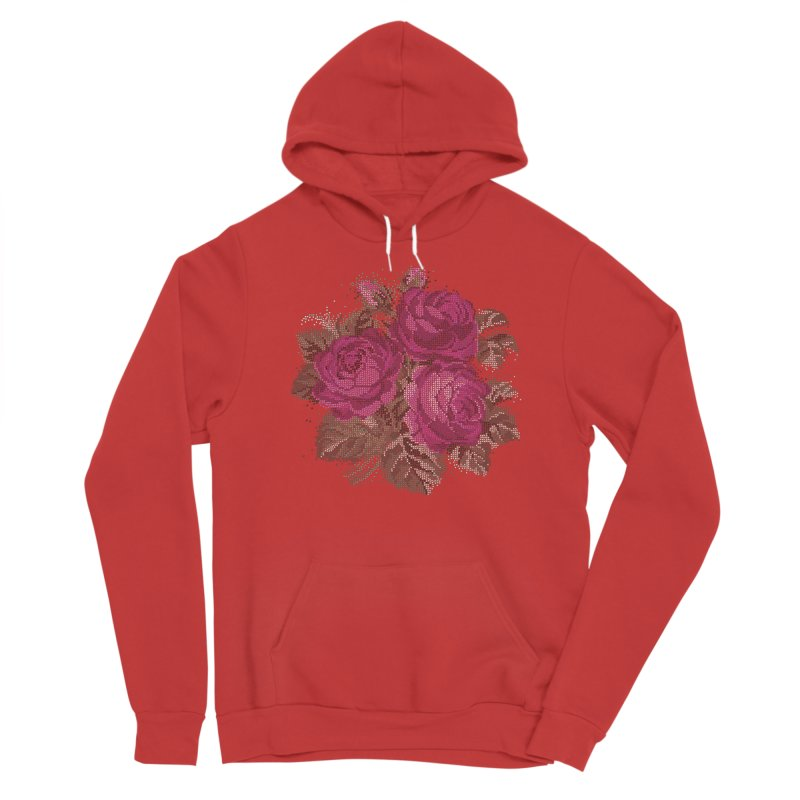 Pixel Roses Fitted Pullover Hoody by Art by Maija R