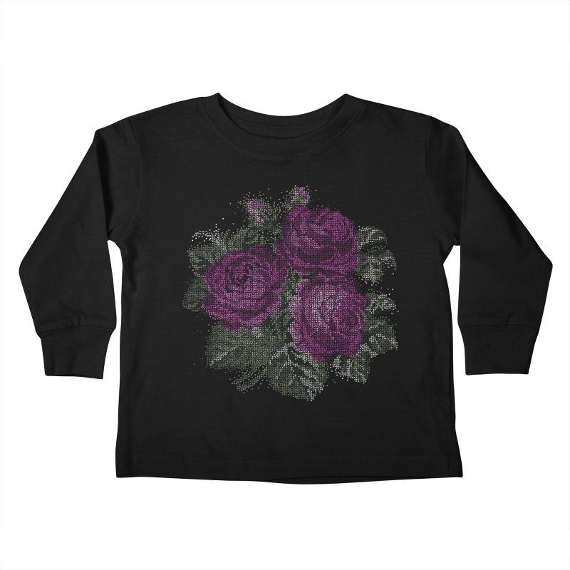 Pixel Roses Kids Toddler Longsleeve T-Shirt by Art by Maija R