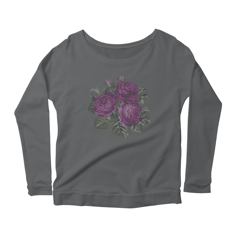 Pixel Roses Fitted Longsleeve T-Shirt by Art by Maija R