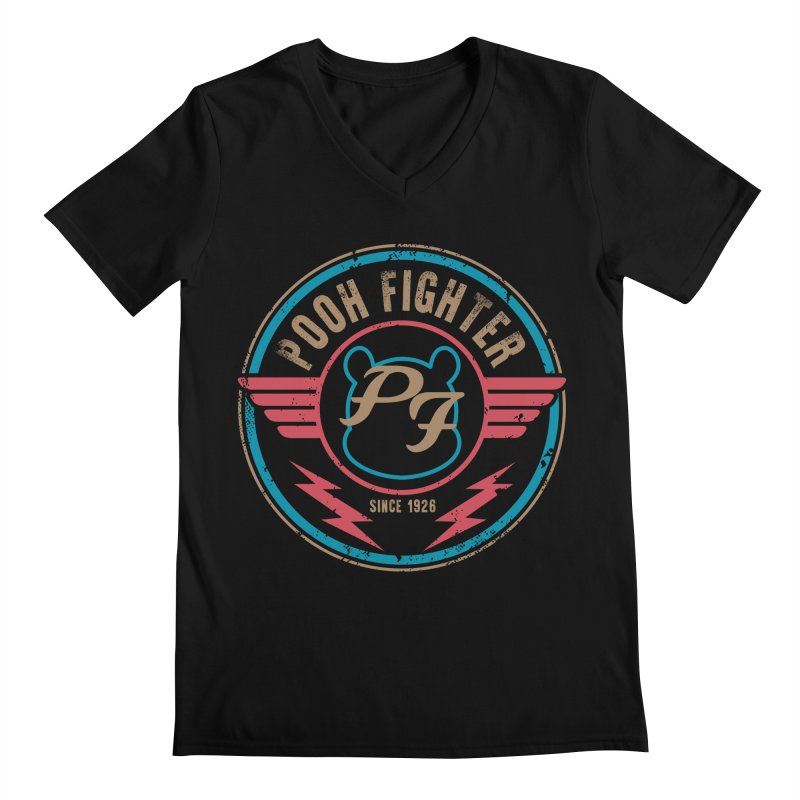 Pooh Fighter Men's Regular V-Neck by mainial's Artist Shop
