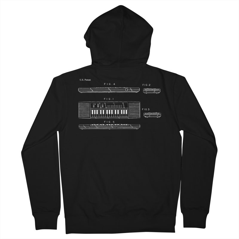 Keyboard Patent Men's French Terry Zip-Up Hoody by Main Street Dueling Pianos