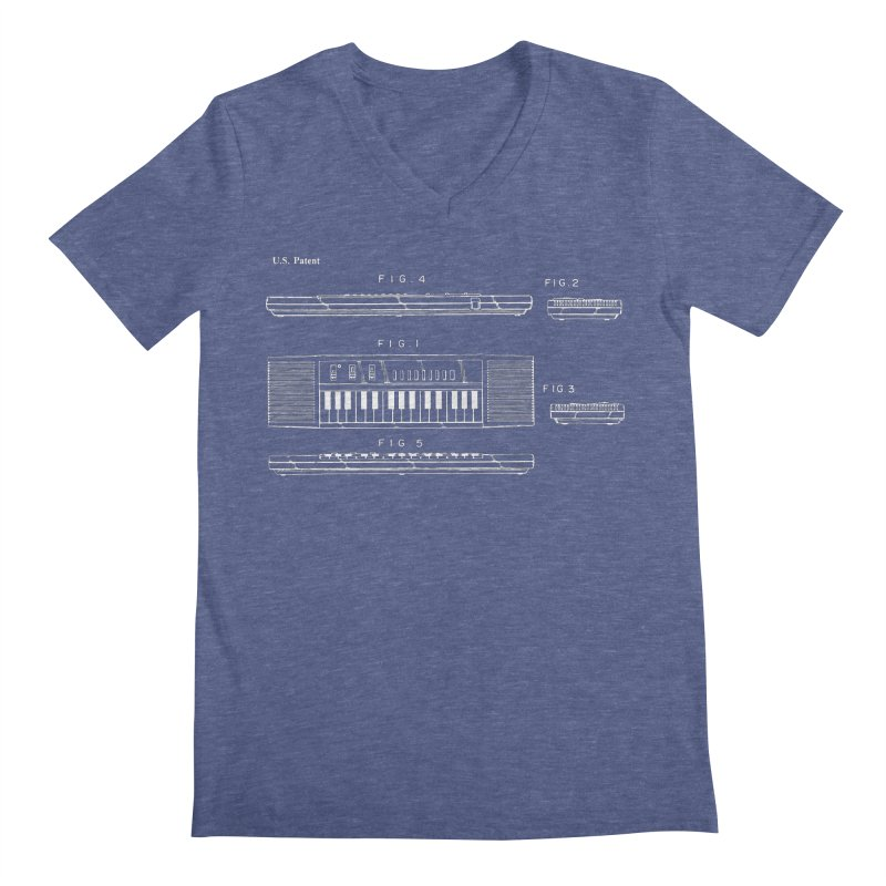 Keyboard Patent Men's V-Neck by Main Street Dueling Pianos