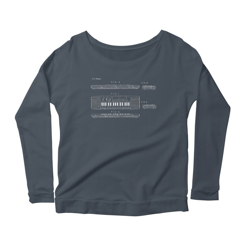 Keyboard Patent Women's Scoop Neck Longsleeve T-Shirt by Main Street Dueling Pianos