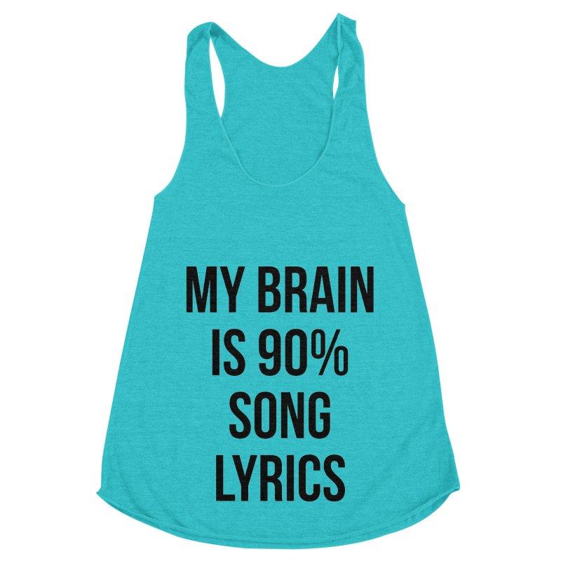 90% Song Lyrics Women's Racerback Triblend Tank by Main Street Dueling Pianos