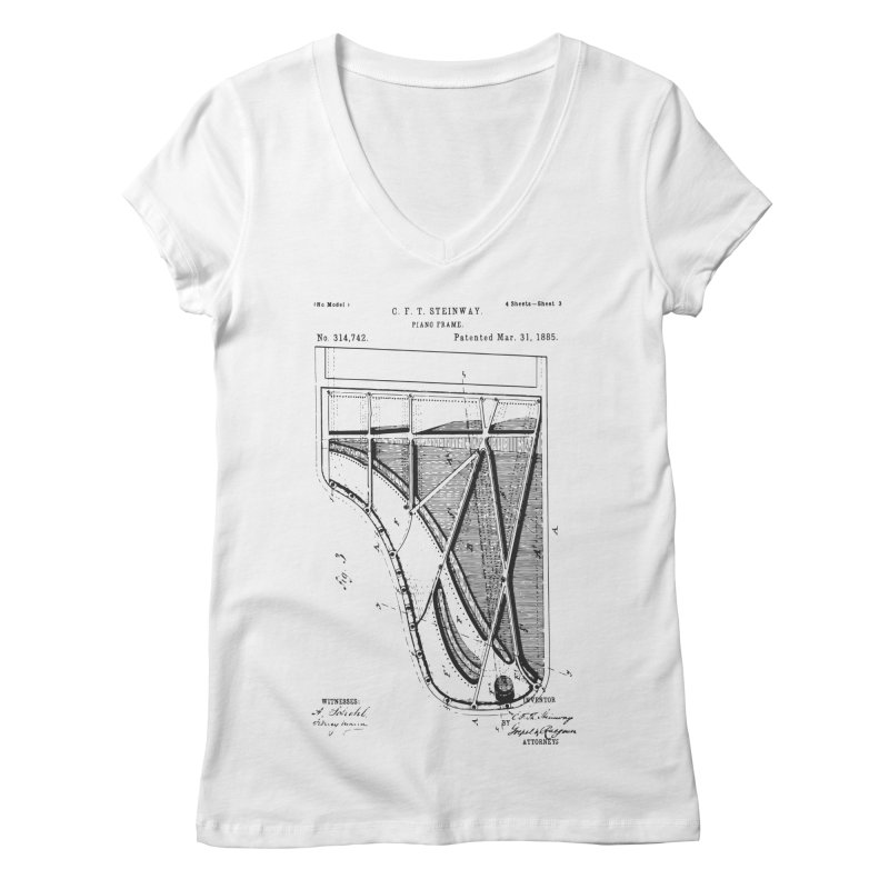Steinway Patent Women's V-Neck by Main Street Dueling Pianos