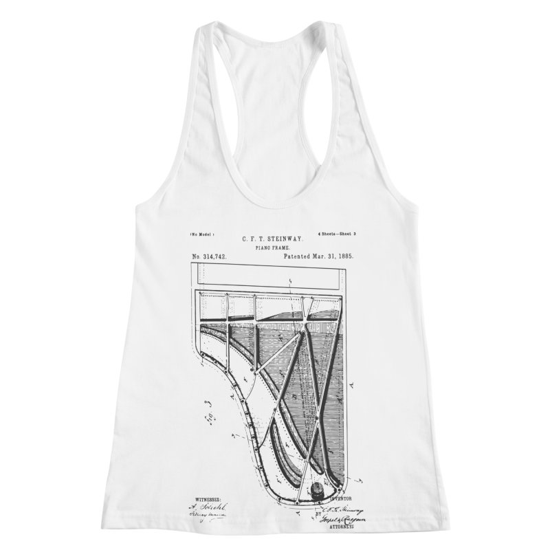 Steinway Patent Women's Racerback Tank by Main Street Dueling Pianos