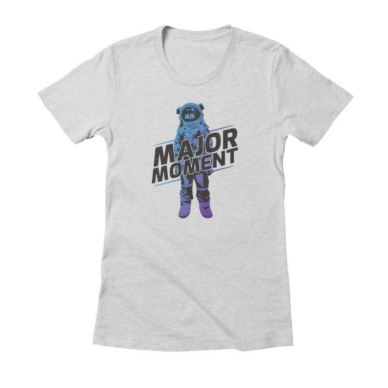Major Tom MM Design in Women's Fitted T-Shirt Heather Grey by Major Moment