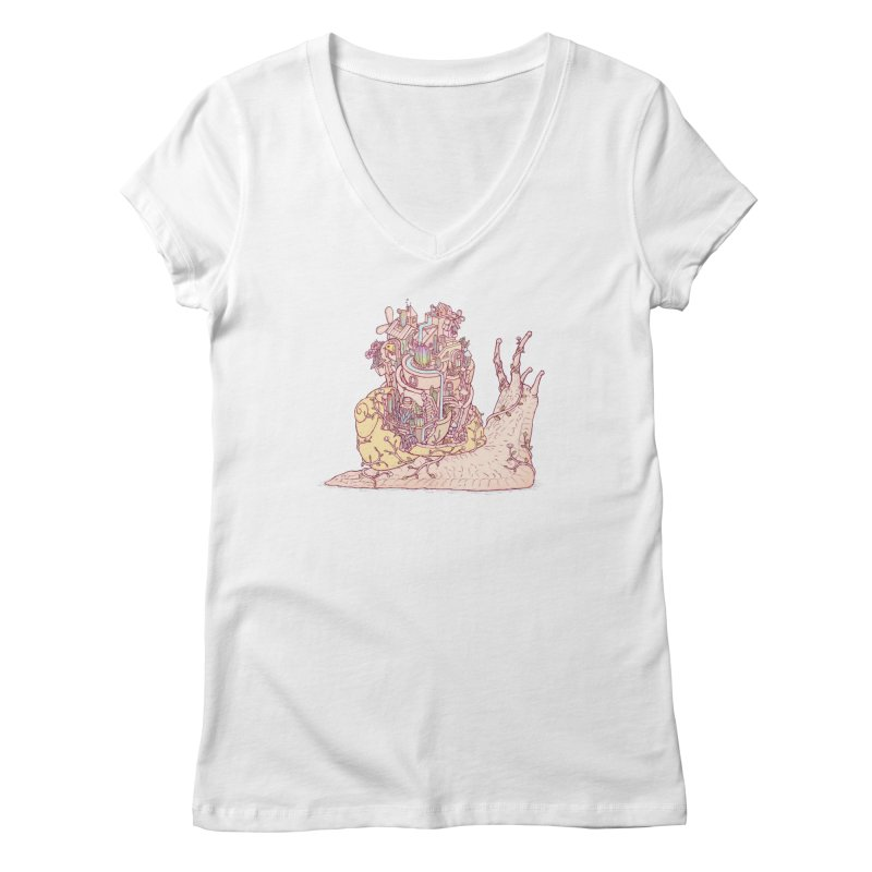 slow happy garden Women's Regular V-Neck by makapa's Artist Shop