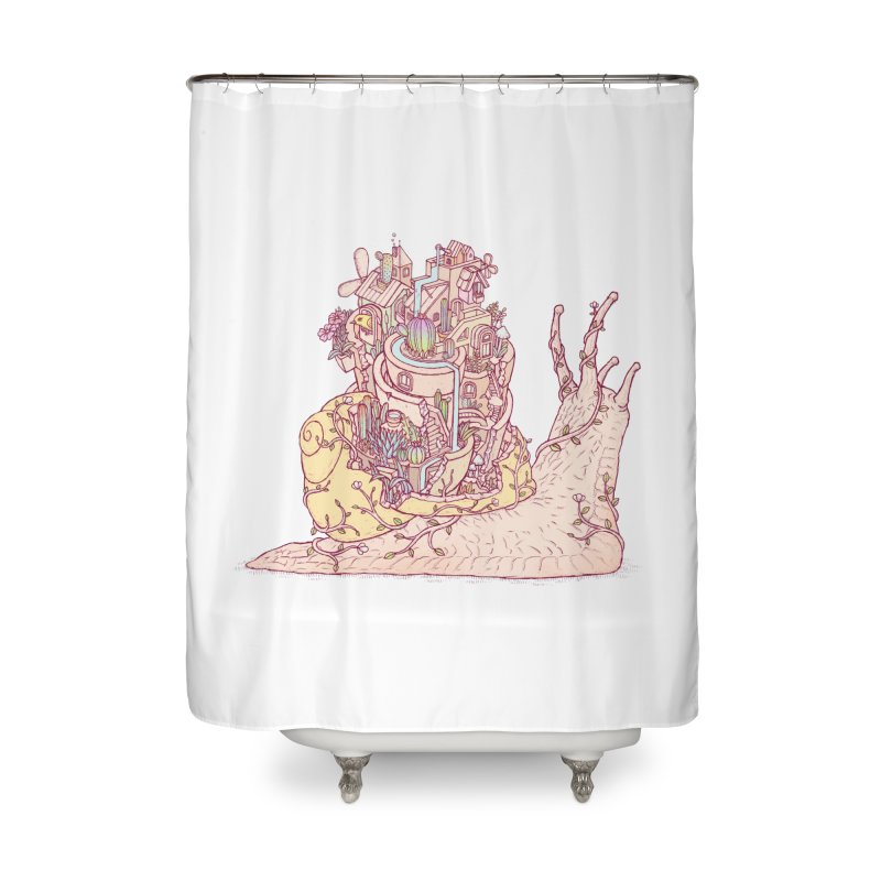 slow happy garden Home Shower Curtain by makapa's Artist Shop