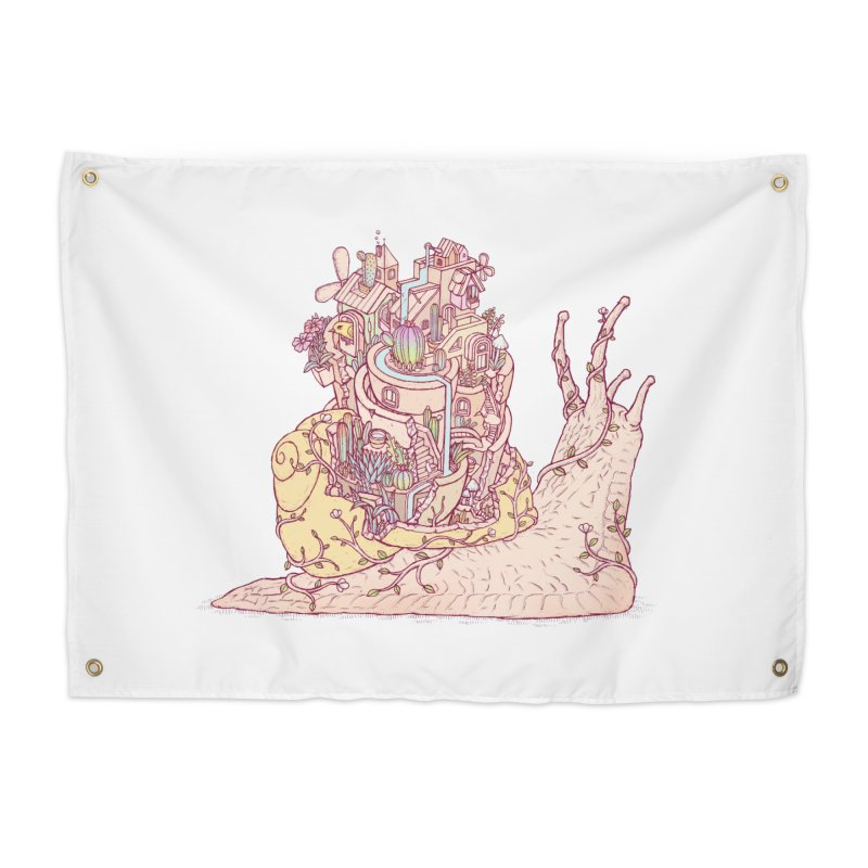 slow happy garden Home Tapestry by makapa's Artist Shop