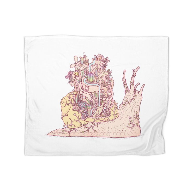 slow happy garden Home Fleece Blanket Blanket by makapa's Artist Shop