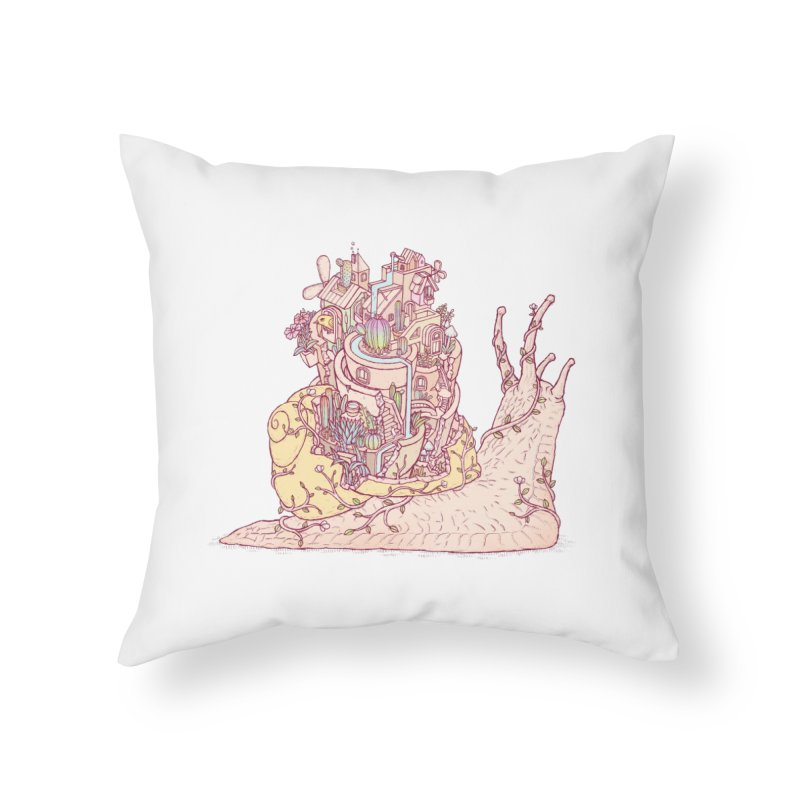 slow happy garden Home Throw Pillow by makapa's Artist Shop