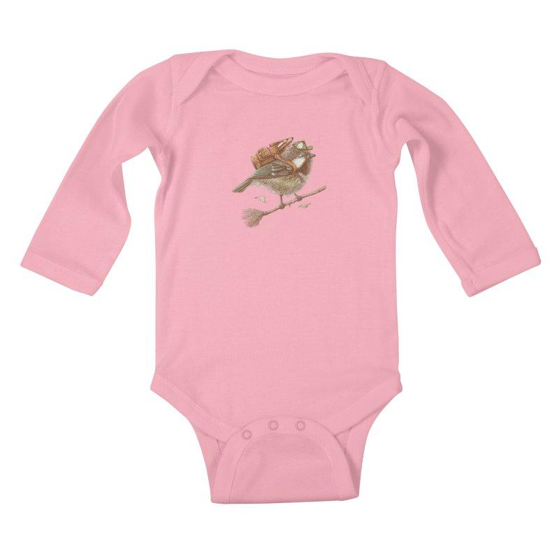 back to school Kids Baby Longsleeve Bodysuit by makapa's Artist Shop
