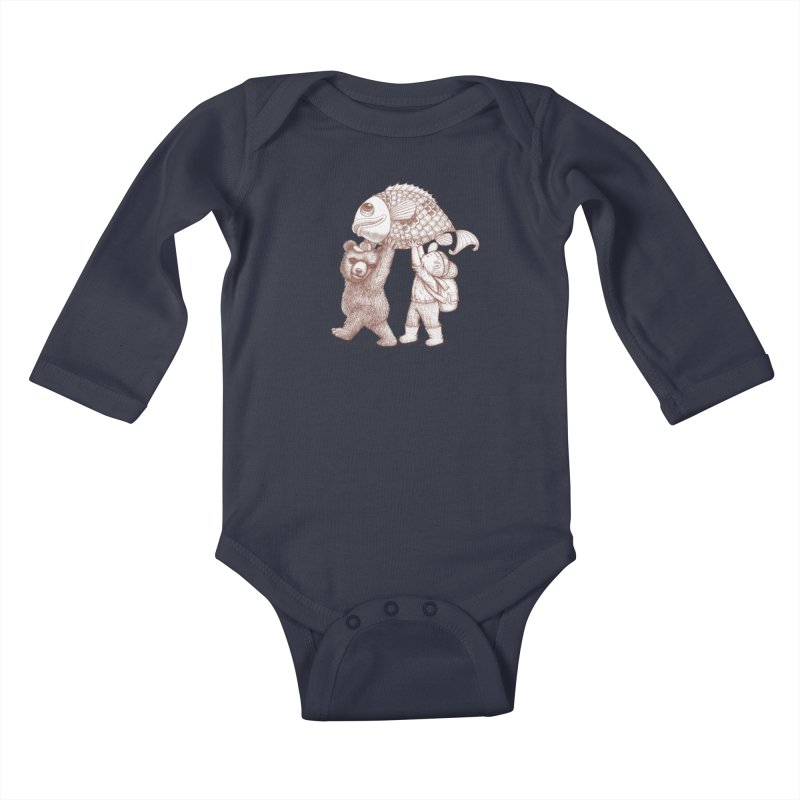 big fish Kids Baby Longsleeve Bodysuit by makapa's Artist Shop