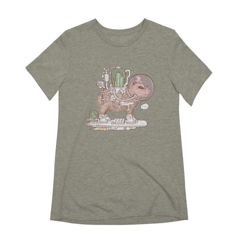 capybara space suit Women's Extra Soft T-Shirt by makapa's Artist Shop