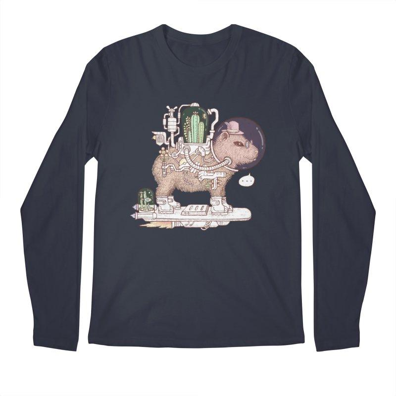 capybara space suit Men's Regular Longsleeve T-Shirt by makapa's Artist Shop