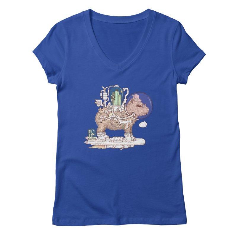 capybara space suit Women's Regular V-Neck by makapa's Artist Shop