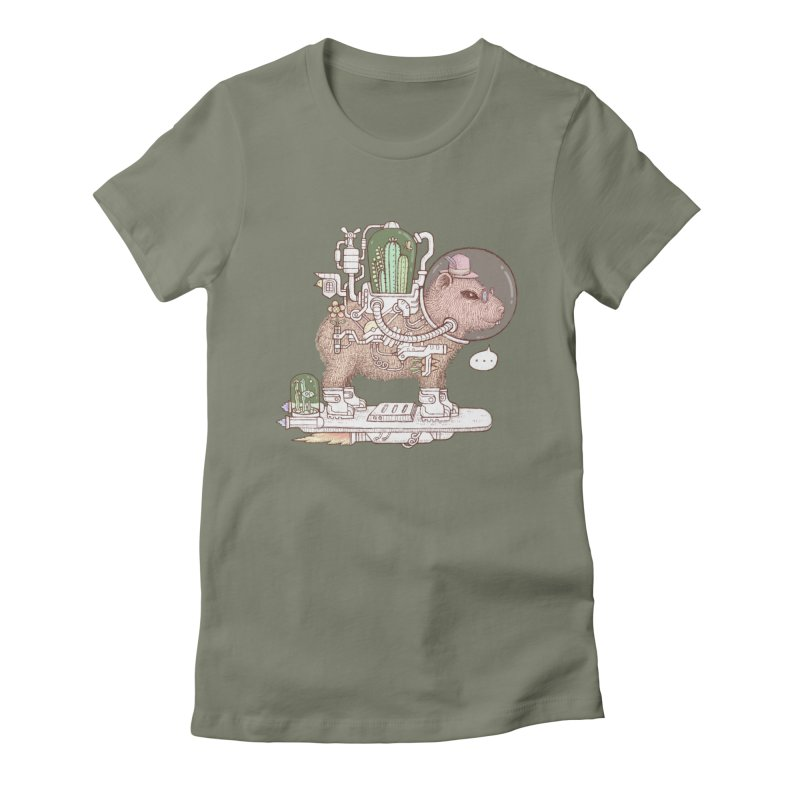 capybara space suit Women's Fitted T-Shirt by makapa's Artist Shop
