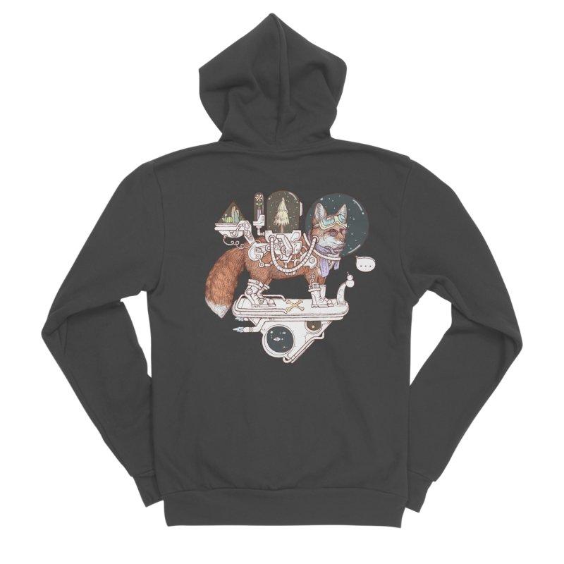 fox space suit Women's Sponge Fleece Zip-Up Hoody by makapa's Artist Shop