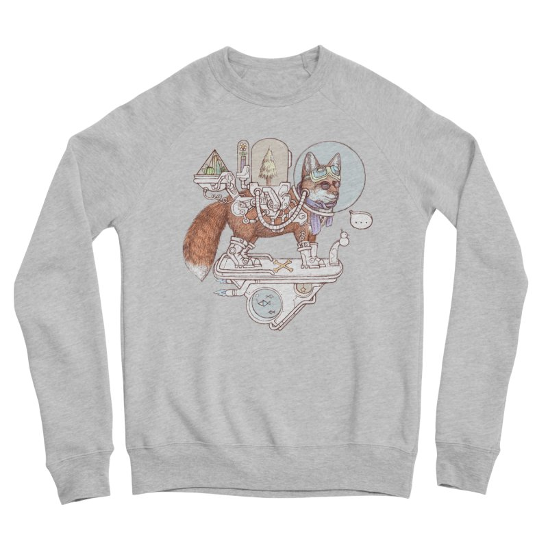 fox space suit Women's Sponge Fleece Sweatshirt by makapa's Artist Shop