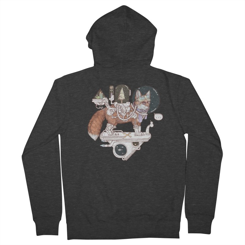 fox space suit Men's French Terry Zip-Up Hoody by makapa's Artist Shop