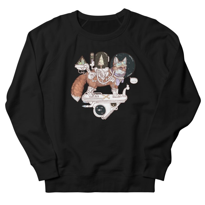 fox space suit Men's French Terry Sweatshirt by makapa's Artist Shop
